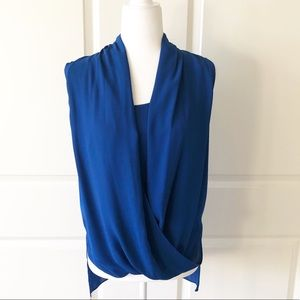 Vince Camuto Blue Drape Front Top/SizeSmall